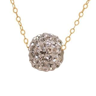 10k Yellow Gold White Crystal Necklace