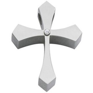 Colibri Stainless Steel Mens Diamond Cross Necklace