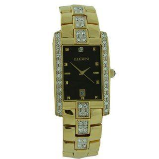 Elgin Watch Men Gold Tone Austrian Crystals Calendar Dial Fancy FG116N