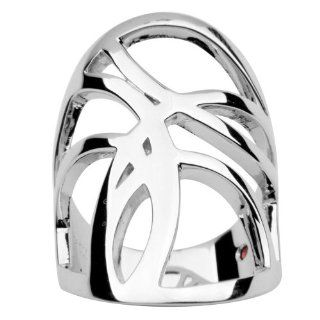 ELLE Sterling Silver Abstract Wide Band Ring Claire