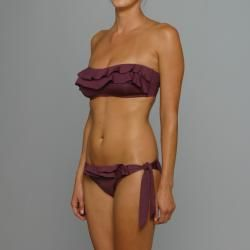 Perry Ellis Womens Black Plum Cha Cha Bandeau Bikini