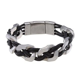 La Preciosa Stainless Steel Matte Wide Links w/ Braided Leather