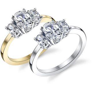 14k Gold 1 1/2ct TDW Three stone Diamond Engagement Ring (I, SI3