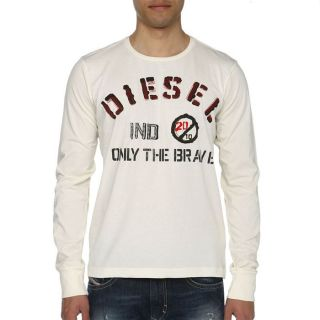 DIESEL T Shirt Nopal Homme Ecru   Achat / Vente T SHIRT DIESEL T Shirt