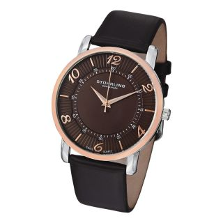Stuhrling Original Mens Corona Ultra thin Leather Strap Watch Was $