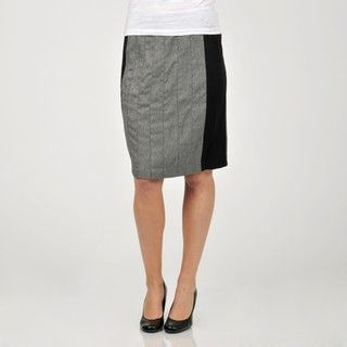 Sharagano Womens Black/Grey Side Panel Skirt
