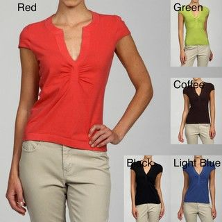 Lou Lou Womens Ruched Notched Scoop Neck Cap sleeve Top