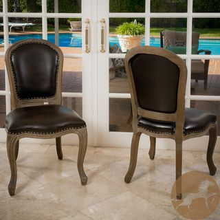 Christopher Knight Home Maryland Leather Weathered Wood Dining Chairs