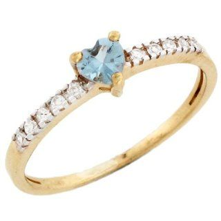 14k Gold March Birthstone Synthetic aquamarine Heart Ring