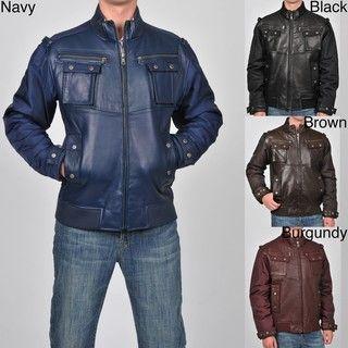 Knoles & Carter Mens Big & Tall Leather Bomber Jacket