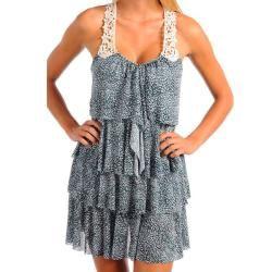 Stanzino Womens Floral Tiered Ruffle Crocheted Back Dress
