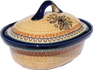 Polish Pottery Oval Casserole Dish Large with Lid 1158