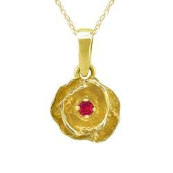 10k Gold July Birthstone Created Ruby Flower Necklace