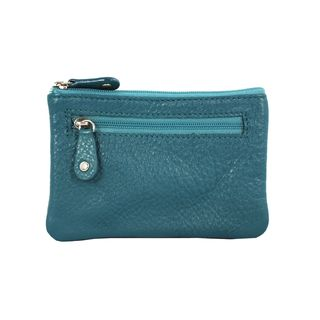 Turquoise Leather Multi purpose Keychain Wallet