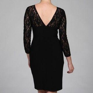Evan Picone Womens Black Lace Sheer Bodice Dress
