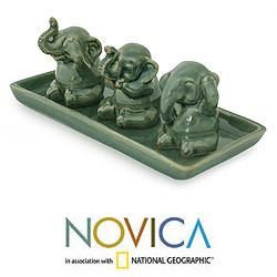 Set of 3 Celadon Ceramic Elephant Lessons Sculptures (Thailand