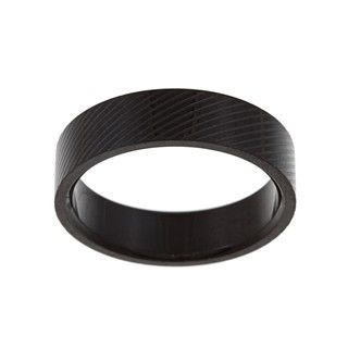 Black plated Stainless Steel Mens Lined Wedding style Band