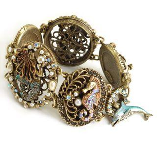 Sweet Romance Bronzetone Glass Stone Mermaid Cartouche Ocean Bracelet