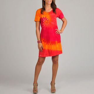 La Cera Womens Tie Dye Print Short Sleeve Dress