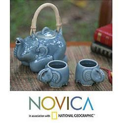 Celadon Ceramic Blue Elephant Muse Tea Set (Thailand)