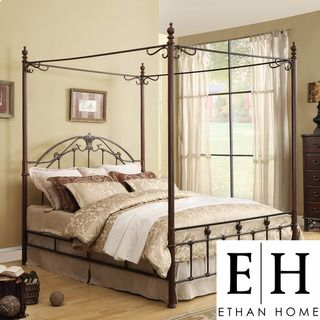 ETHAN HOME Newcastle Full Cast Iron Metal Canopy Bed