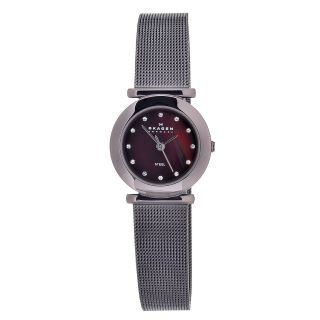 Skagen Womens Brown Stainless Steel Mesh Brown MOP Dial Watch