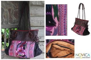 Cotton and Leather Hmong Paradise Large Shoulder Bag (Thailand