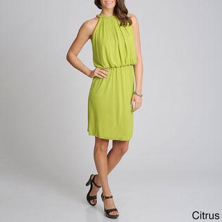 Lennie for Nina Leonard Womens Braided Trim Blouson Dress