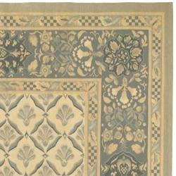 Hand knotted French Aubusson Ivory Wool Rug (9 x 12)