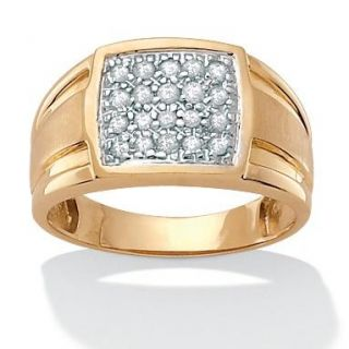 Isabella Collection 18k Gold over Silver Mens 1/2ct TDW Diamond Ring