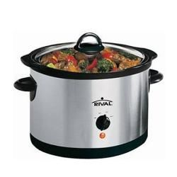 Rival 6 Quart Slow Cooker Crock Pot, Stainless Steel