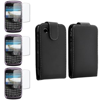 Black Leather Case/ Screen Protector for BlackBerry Curve 8520/ 9300