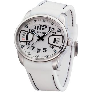 Police Mens Pursuit White Rubber Strap Watch