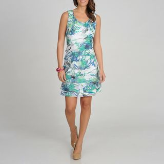 Fashions Womens Teal Floral Printed Tiered Dress