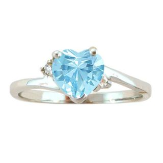 10k Gold March Birthstone Sky Blue Topaz and Diamond Heart Ring
