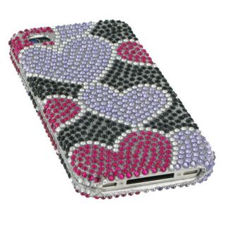 Apple iPhone 4 Black and Purple Heart Rhinestone Case