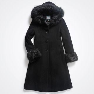 Rohschild Girls Wool Hooded Dress Coa (Size 7 16)