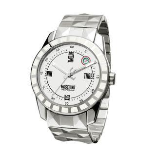 Moschino Mens Joe Black Stainless Steel Diamond cut Watch