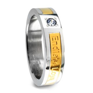 Goldplated Stainless Steel Cubic Zirconia Endless Love Engraved Ring