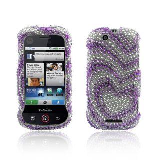 Luxmo Motorola Cliq Purple with Silver Heart Full Diamond Case