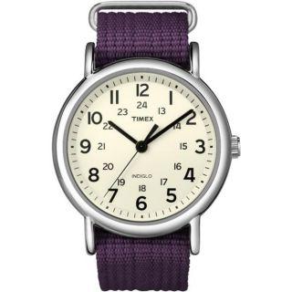 Timex Womens Weekender Purple Slip through Strap Watch