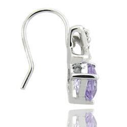 Sterling Silver Amethyst and Diamond XO Drop Earrings