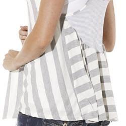 Lilac Clothings Womens Maternity Grey Striped Sleeveless Cardigan