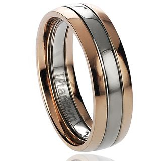 Daxx Mens Titanium Two tone Rose Goldplated Band (6 mm)