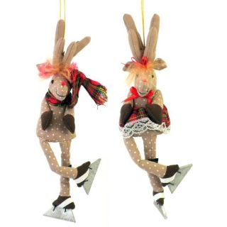Set of 2 Mr. and Mrs. Moose Ice Skating Christmas Ornaments (Thailand