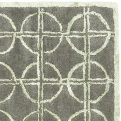 Handmade Soho Eternal Deco Grey/ Green N. Z. Wool Rug (6 Square