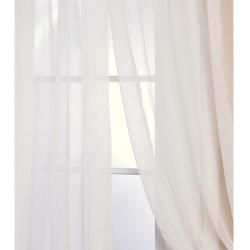 Off White Poly Voile 120 inch Sheer Curtain Panel Pair