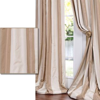 Light Brown/ Tan Striped Faux Silk Taffeta 108 inch Curtain Panel