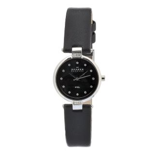 Skagen Womens Ceramic Black Dial Black Leather Strap Watch