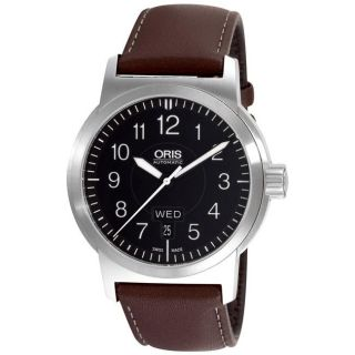 Oris Mens BC3 Sportsman Day Date Brown Strap Automatic Watch